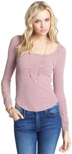 Free People Pink Thermal Cuff Crochet Sweater