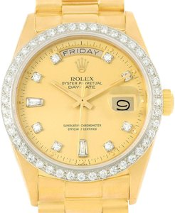 Rolex Rolex President Day-Date 18k Yellow Gold Diamond Watch 18048 Box Paper