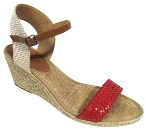 Lucky Brand Woven Jute Sandals Spring Tomato Wedges
