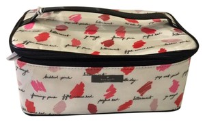 Kate Spade Makeup Pockets Multipurpose Color Swatches White and Pink Travel Bag