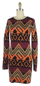 Torn by Ronny Kobo short dress Black Orange Purple Aztec Wool Southwest Sweater on Tradesy