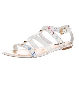 Louis Vuitton Gladiator Cage Lv Monogram Gold Hardware White, Multicolor Sandals