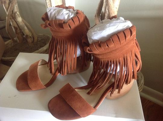 Free People Matiko Fringed Suede Rust Sandals