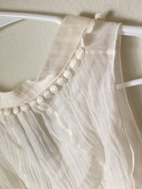 Rochas Linen Embellished Double Lined Ruched New Top Creme