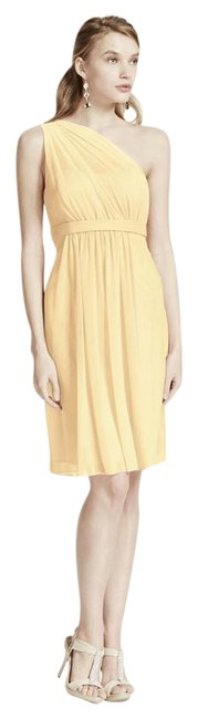 Item - Canary Yellow Polyester / Mesh One Shoulder Illusion Neckline Modest Bridesmaid/Mob Dress Size 6 (S)