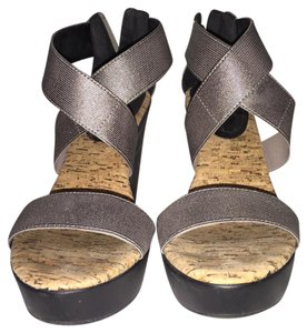 Charles David Metallic Pewter Wedges