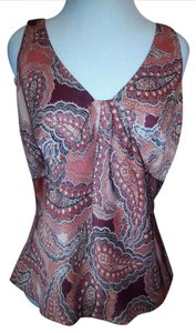 Ann Taylor LOFT Figure Flattering Never Worn Paisley Top Copper Paisley
