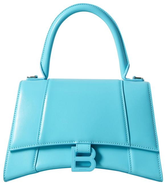 Item - Top Handle Box Hourglass Small In Shiny Calfskin Blue Leather Shoulder Bag