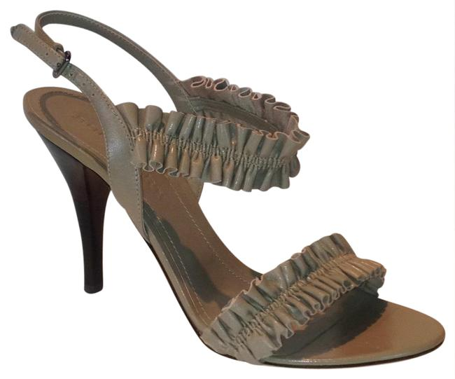 Burberry Taupe Ruffles Leather High Hells Sandals Size US 8.5 Regular (M, B) Burberry Taupe Ruffles Leather High Hells Sandals Size US 8.5 Regular (M, B) Image 1
