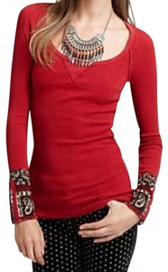 Free People Thermal Pattern Thermal Rare Cuff Embellished Sweater