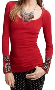 Free People Thermal Pattern Rare Cuff Embellished Stud Sweater