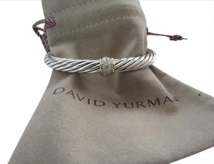 David Yurman Refurbished W/New Cable by DY 7mm SS/18k Single Station Diamond Cuff
