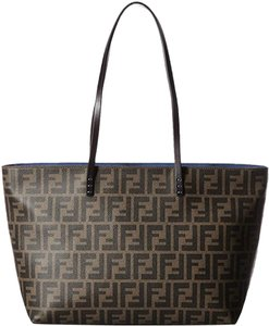 Fendi Canvas 8bh198 Logo Zucca Leather Tote