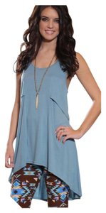 Other Lace Oversized Loose Tunic Top Blue