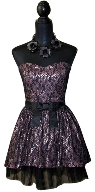 Preload https://img-static.tradesy.com/item/20814262/betsey-johnson-black-and-pink-lace-strapless-party-short-formal-dress-size-8-m-0-1-650-650.jpg
