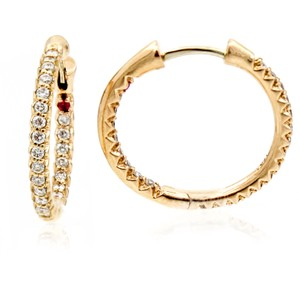 Roberto Coin Roberto Coin Inside-Out Diamond Hoop Earrings 18k Rose Gold 18mm Small