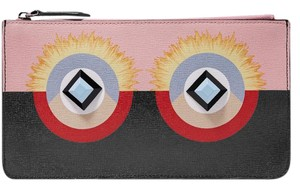 Fendi Pouch Monster Zip pink, black Clutch