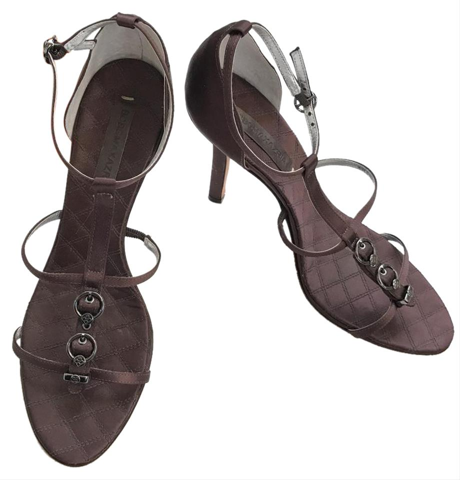 d7364f7cc7a BCBGMAXAZRIA Chocolate Brown Satin Strappy Buckle Heel Sandals Formal Shoes