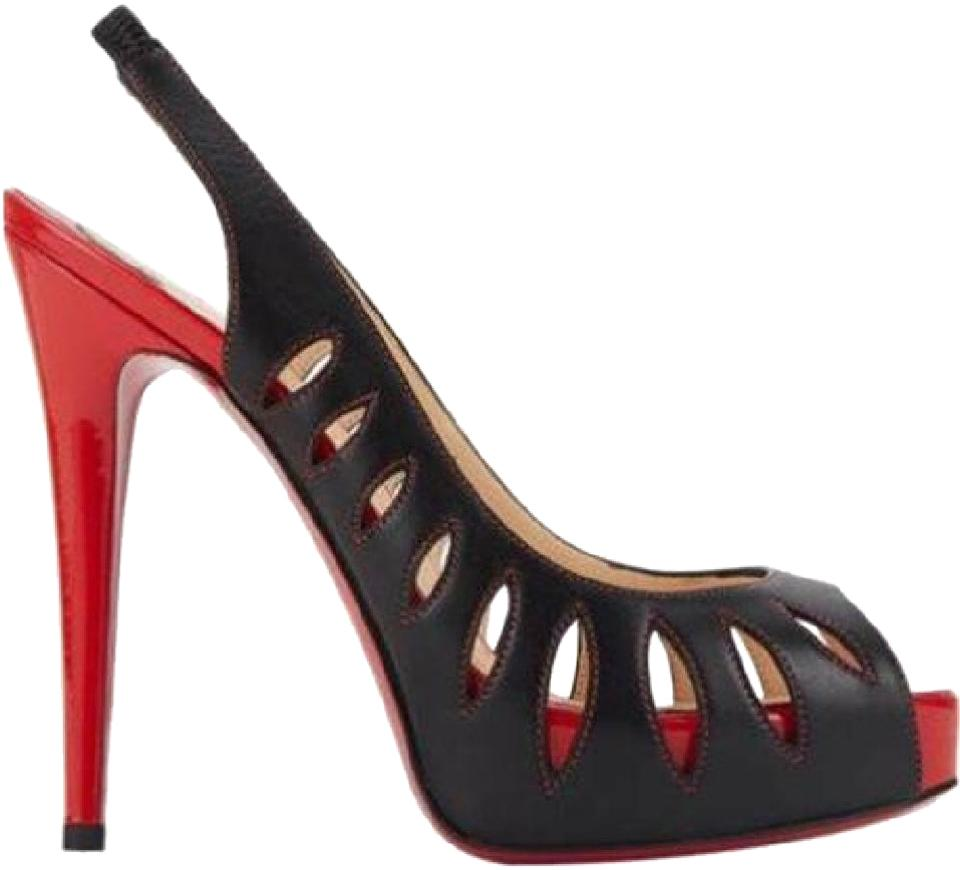 timeless design e7a28 c6fde Christian Louboutin Black/Red Griff Sling 120 Cutout Leather Platform Pumps  Sandals Size EU 35 (Approx. US 5) Regular (M, B) 40% off retail