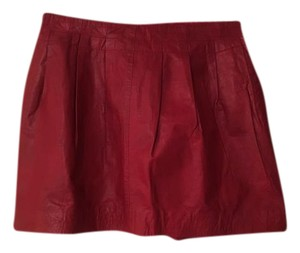 Zara Mini Faux Leather Textured Structured Pleated Mini Skirt Red