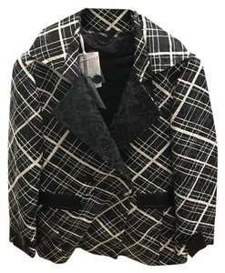Max and Cleo Simple Spring Cozy Black and White plaid Jacket