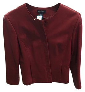 Ann Taylor Leather Chic Tailored Red Leather Jacket