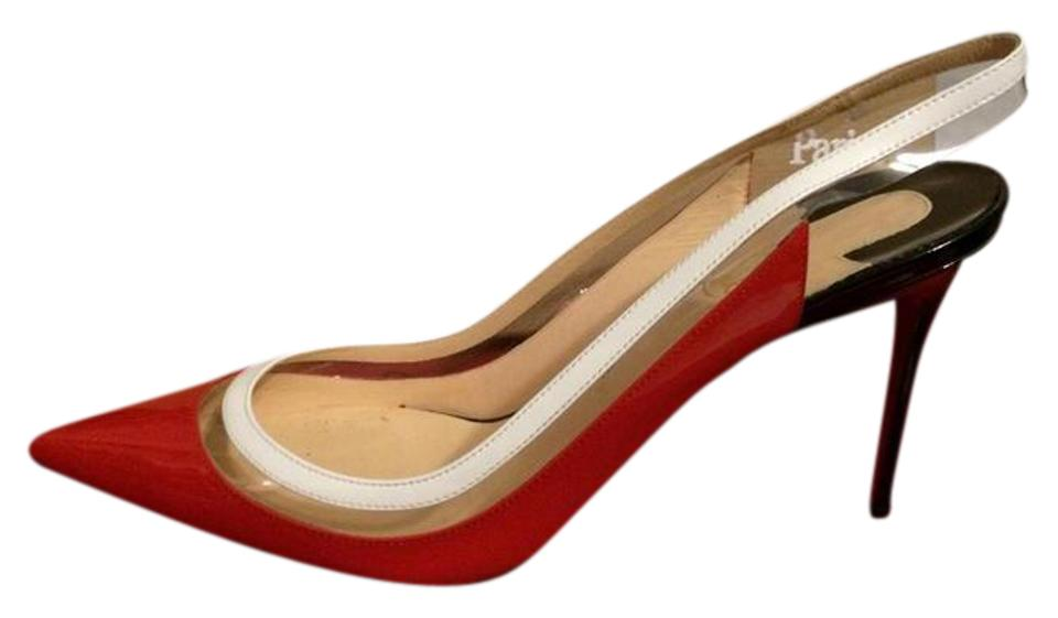 best website 53695 77b8f Christian Louboutin Red Black White Paulina Sling 85 Patent Leather Pvc  Slingback Sandals Size EU 37 (Approx. US 7) Regular (M, B) 33% off retail