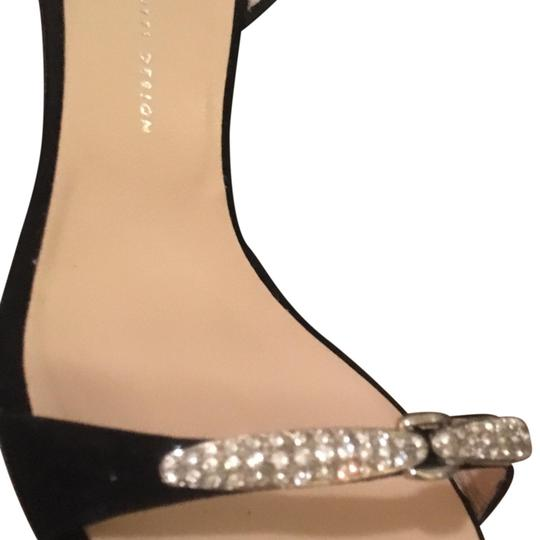 Giuseppe Zanotti Chic Hardware Crystal Suede Sparkle Black and Silver Formal