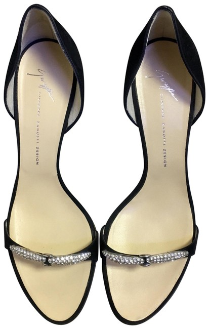 Item - Black and Silver W Suede Heels W/ Crystals At Vamp. Formal Shoes Size US 7 Regular (M, B)