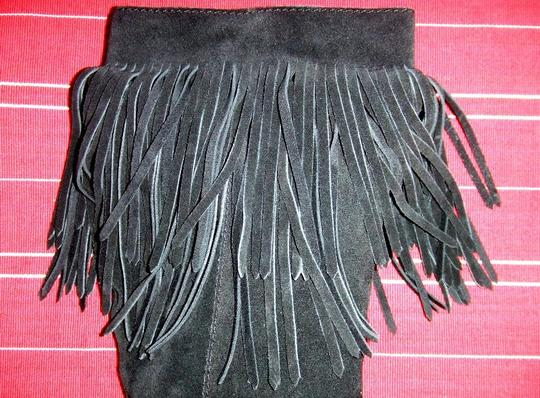 Coconuts Sioux Fringed Knee High Heeled Fringe Suede Black Boots