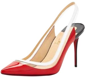 Christian Louboutin Slingback Pvc Paulina Patent Leather Red Red, Black, White Sandals