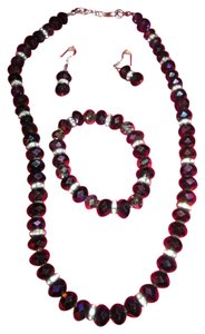 Swarovski Elements Swarovski Crystal Elements Purple Amethyst Necklace And Earrings Set