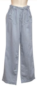 Cynthia Rowley Linen Drawstring Casual Spring Straight Pants Periwinkle