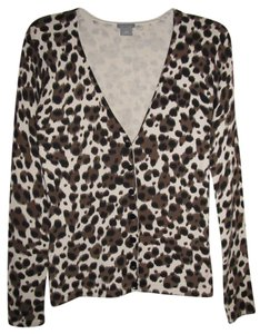 Ann Taylor V-neck Animal Print Cotton Silk Cardigan