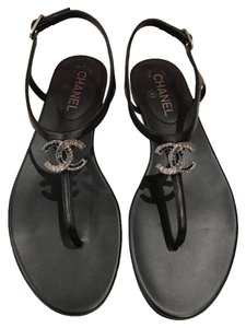 Chanel Lambskin Crystal Logo Leather Thong Black Sandals