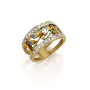 Masriera Masriera 18k Gold Diamond Enamel Floral Open Fancy Band Ring
