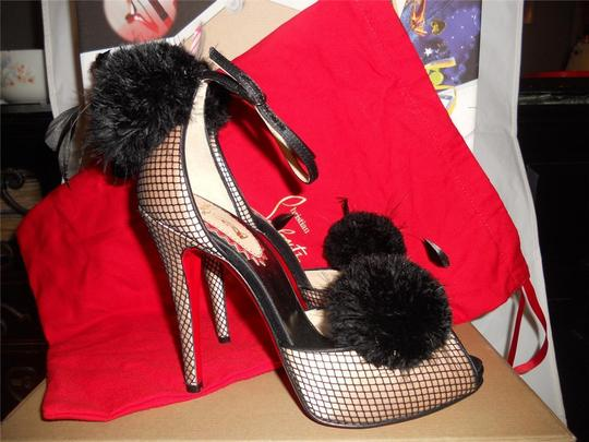 Christian Louboutin Pluminette Pom Pom Fishnet Feather Powder, Black, Sandals