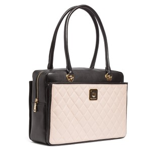 Moschino Quilted Black Tan Satchel in Ivory/Black