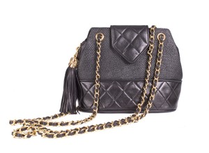 Chanel Raffia Quilted Leather Tassle Shoulder Bag