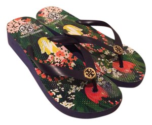 Tory Burch Wedge Flip Flops Tory Gardening Blue Sandals