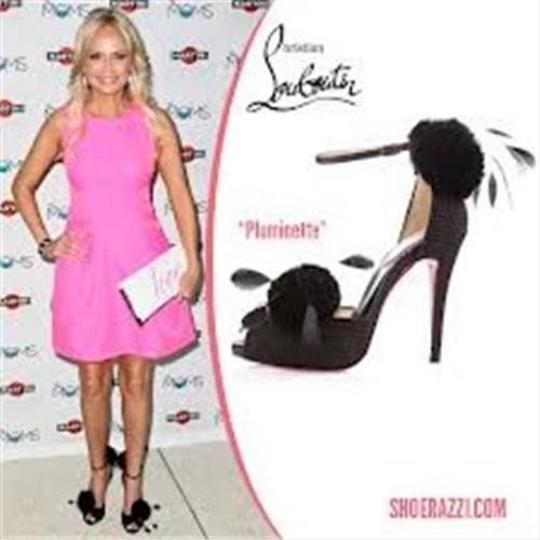 Christian Louboutin Pluminette Pom Pom Fishnet Feather Black Sandals
