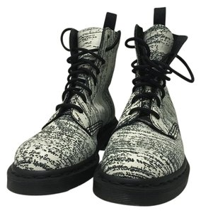 Dr. Martens Black and White Strip Boots