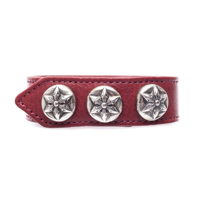 Chrome Hearts Red/Silver Five Point Star Leather One Size Bracelet Chrome Hearts Red/Silver Five Point Star Leather One Size Bracelet Image 1