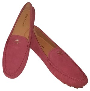 Coach Suede Logo Leather Gold Hardware Black Cherry/Burgundy Flats