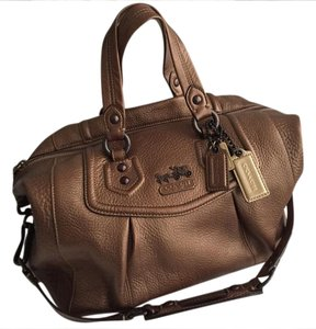 Coach Madison Metallic Leather Satchel in Bronze