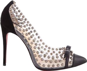 Christian Louboutin Studded Billy Velvet Silver Black Pumps