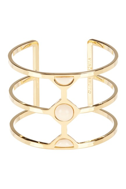 Item - Gold Ivory Milky Resin Cutout Cuff Bracelet