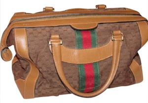 Gucci Extra Large Size Excellent Vintage Rare Early High-end Bohemian Satchel in dark brown small G logo print fabric and camel leather with red & green striped accents