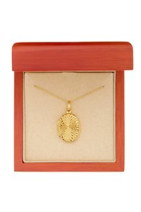 Argento Vivo 18K Gold Plated Sterling Silver Oval Swirl Front Locket Necklace