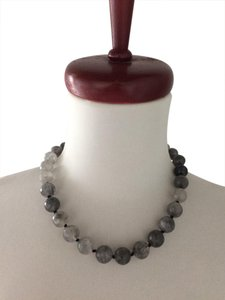 Other Marble Gray Natural Genuine Stone Faceted Large Round Bead Necklace